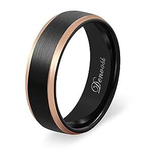 Denvosi Tungsten Carbide Ring for Men 8mm Black Rose Gold Beveled Edges Wedding Comfort Fit Ring Size 7