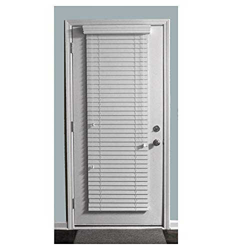 TailorView, Custom Made 2 Inch Faux Wood Horizontal Window Blinds for Doors, Snow White, Outside Mount, 28″ W x 84″ H