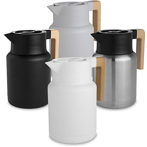 Double Walled Thermal Pots For Coffee and Teas by Hastings Collective Stainless Steel Vacuum Carafes With Removable Tea Infuser and Strainer Large Thermal Coffee Carafe White 50 Oz.