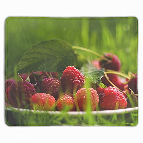 - Art Mousepad Natural Rubber Printed with Raspberry Saucer Berry Herb Stitched Edges 11.8-inch by 9.85-inch