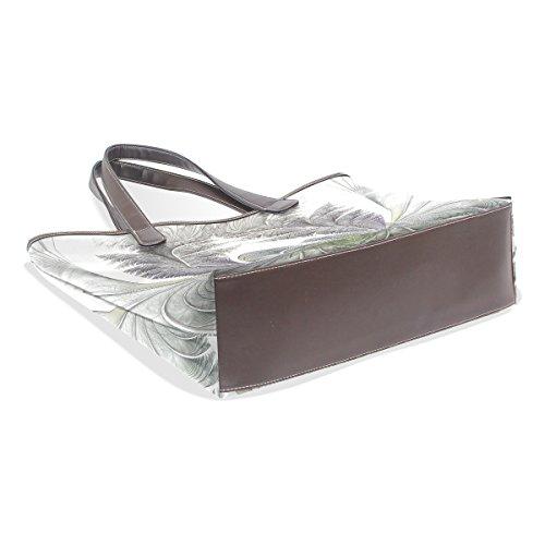 COOSUN Womens Fractal Pattern Pu Leder Tote Handtasche Schultertasche L
