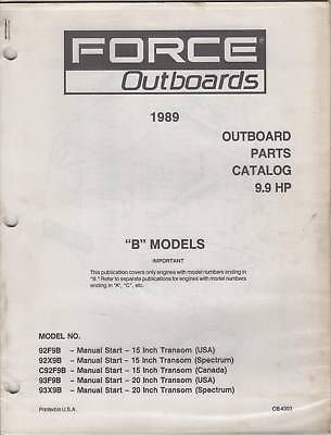 (1989 FORCE OUTBOARDS PARTS MANUAL 9.9 HP