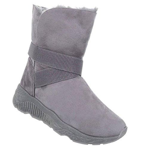 Schuhcity24 Damen Schuhe Stiefeletten Warm Gefütterte Boots Grau