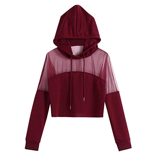Spring Blouse,Morecome Women Plus Size Boho Solid Blouse Splice Shirt Long Sleeve Hooded Sweater Wine Red ()