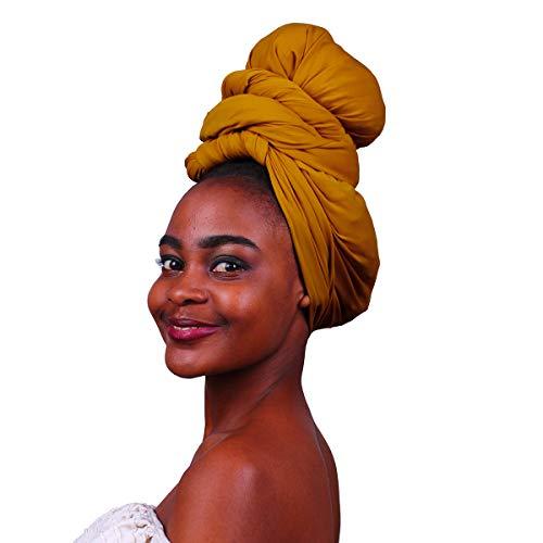 Fabric Turban - MCYSKK Long Knit Stretch Turban Head Wraps Headband Scarf Tie Headwear Solid Color