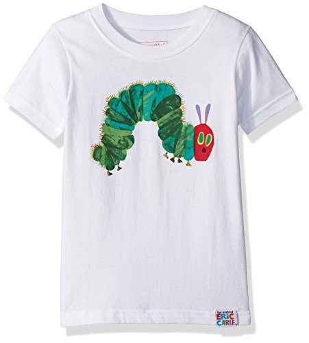 INTIMO Girls' Little Eric Carle Hungry Caterpillar Tee, White, 5T (Pajamas Pigeon Childrens)