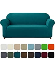 subrtex 1 Piece Stretch Sofa Cover Spandex Jacquard Fabric Slipcovers for Couch, Armchair, Anti-Slip Furniture Protector (Sofa, Blue)