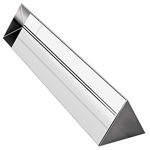 "Amlong Crystal 6"" Optical Glass Triangular Prism for Teaching Light Spectrum Physics and Photo Photography Prism, 150mm"