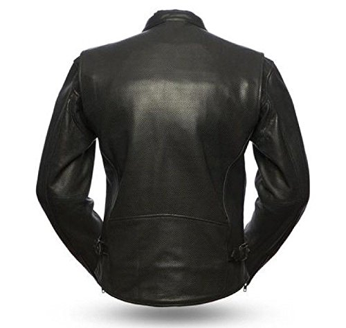 Mens Motorcycle Riding Perforated biker Leather jacket premium leather Blk New (3XL Regular)