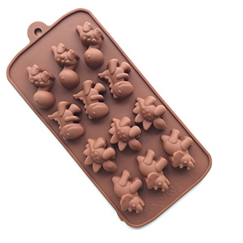 KAIL Silicone 12pcs Dinosaur Shape Print Ice Cube Chocolate Soap Candle Tray Cake Mold For Party
