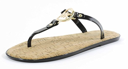 Michael Kors Womens MK Charm Jelly Sandal Black Gold Hardware 8 M -