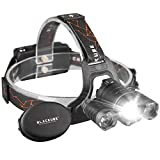 Rechargeable Headlamp Blackube 3 LED 4 Modes Super Bright Headlight With Batteries Zoomable Adjustable Best For Camping Hiking Working