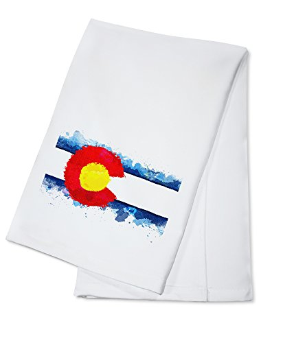 Towel Framed - Colorado State Flag - Watercolor - Image Only (100% Cotton Kitchen Towel)