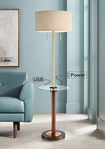 Bullock Tray Table Floor Lamp with USB Port and Outlet - Possini Euro Design