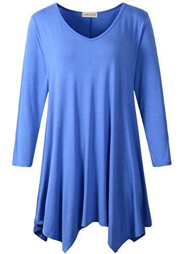 LARACE Womens V-Neck Plain Swing Tunic Top Casual T Shirt(3X, Blue) -