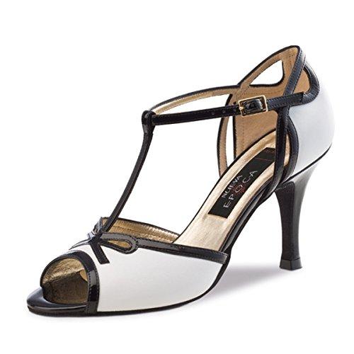 Nueva epoca–Donna Tango/Salsa Scarpe da ballo Paloma–Pelle Nero/Bianco–7cm