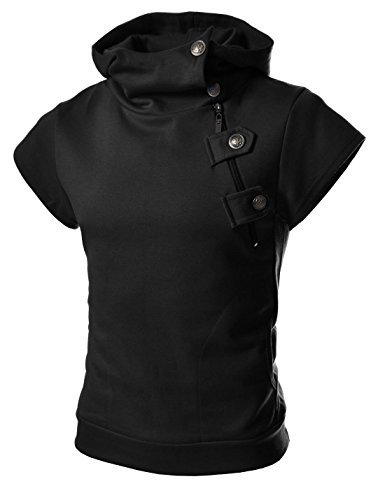 4BS Mens Casual Buckle Zipper Slim Hoodie Cotton