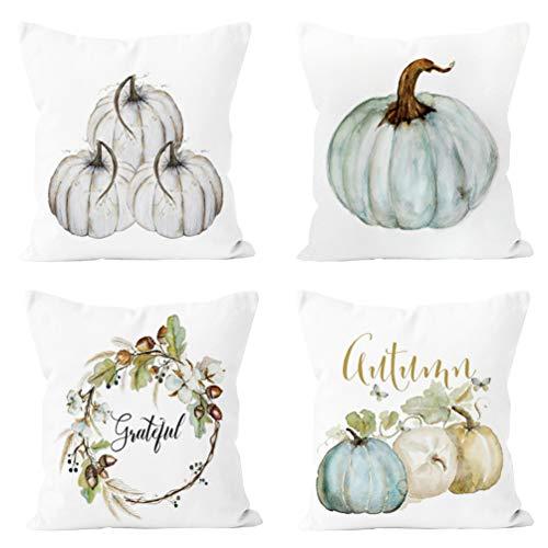 Ninkisann Pumpkin Throw Pillow Cover, 4 Pack Halloween Thanksgiving Autumn Decor Throw Pillow Case Cushion Covers Halloween Decoration 18 X 18 Inch,S9 ()