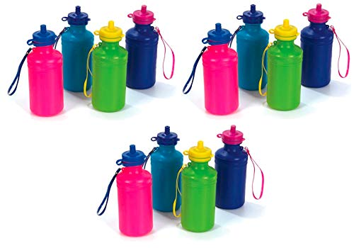 Assortment Bottle Bag - 12 Neon Water Sports Bottles for Bikes | Bulk Pack, 7.5 inches, Wrist Strap | Awesome Summer Beach Accessory | Holds 18 Ounces of Drinks to Keep Kids Hydrated (12 Pack)