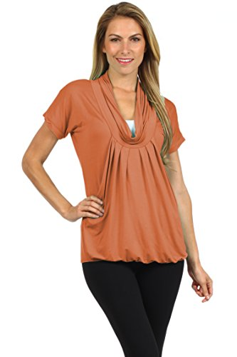 Mine Band Belly (BellyMoms Pleated Draped Cowl Neck Maternity and Nursing Top (Large, Rust))