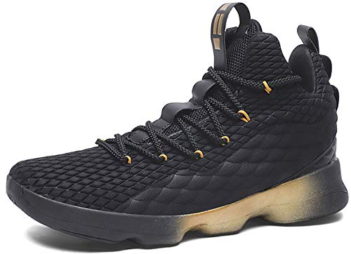 JIYE Men's Fashion Basketball Shoes Women's Breathable Flyknit Sneakers,Black Gold,42EU=9US-Men/10US-Women ()