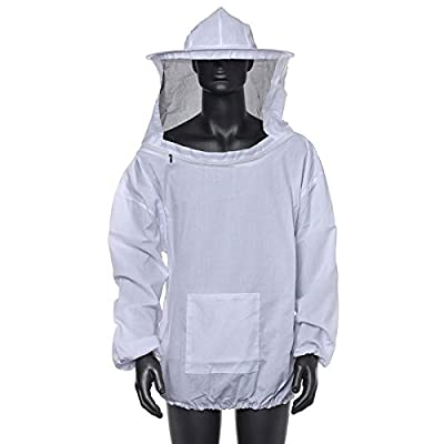 ZUINIUBI Beekeeping Hat and Veil Jacket Smock Equipment Supplies Bee Keeping Sleeve Suit White