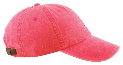 - Adams 6-Panel Washed Pigment-Dyed Cap, Nautical Red, OS