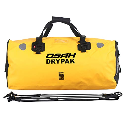 Motorcycle Dry Duffle Tail Bag 500D PVC Waterproof Saddle bag Luggage Reflective Yellow 60L for Motorcycling, Hiking, Cycling, Travel, Camping, Outdoor, Boating (Best Dry Bags For Camping)