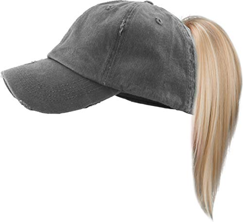 H-209KIDS-SD70 Kids Messy Bun Pony Tail Hat - Distressed - Solid Charcoal (Distressed Kids Leather)