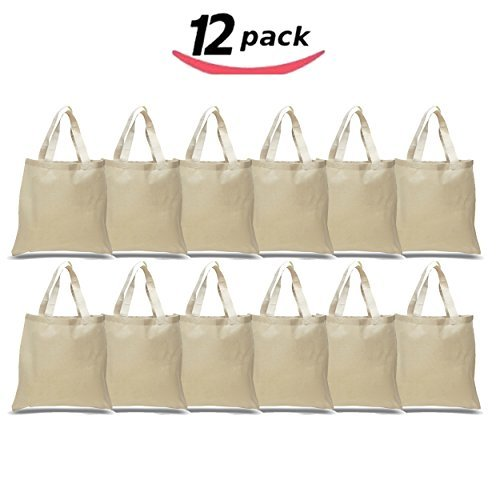 BagzDepot Canvas Tote Bags Wholesale - 12 Pack - Plain Cotton Tote Bags in Bulk, Reusable Bags for Decorating Crafts Bible Bookbag Blank Canvas Bags for Events Schools Sturdy Bags 15 X16