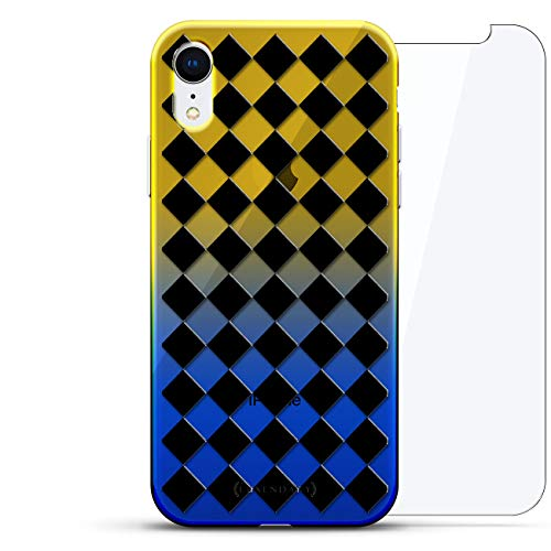 Shapes & Patterns: Checker Board | Luxendary Gradient Series 360 Bundle: Clear Ultra Thin Silicone Case + Tempered Glass for iPhone XR (6.1