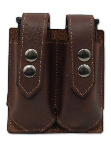 Barsony Brown Leather Double Magazine Pouch for Ruger SR9 SR40 (Ruger Sr40 Ammo)