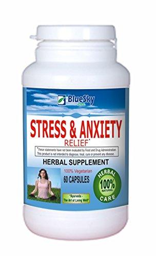 Bleu ciel à base de plantes Stress & soulagement de l'anxiété--Herbal supplément-vous cherchez un complément de l'anxiété à base de plantes pour favoriser la relaxation et de maintenir un équilibre de l'état d'esprit positif face aux stress quotidien