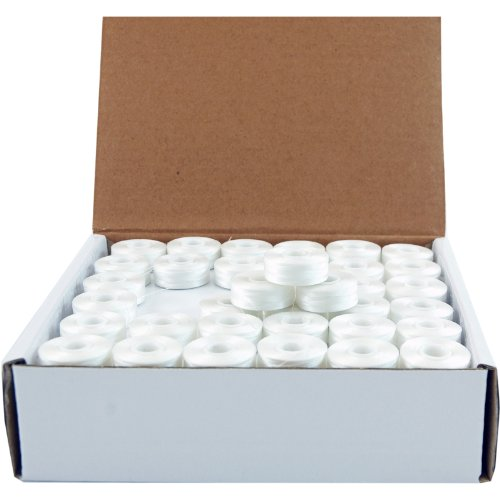 Threadart Prewound Embroidery Bobbins- 144 Count Per Box - White Sideless - L Style - 8 Options Available