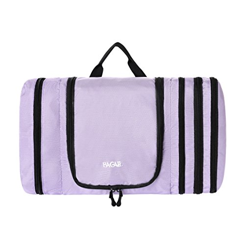 Travel Fold - Bagail Large Men & Women Toiletry Bag For Makeup, Cosmetic, Shaving, Travel Accessories, Personal Items - Hanging Toiletries Kit Makeup Organizer (Flat-lavender)