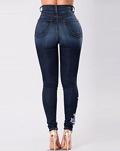Jeans Marino Leggings Ricamato Blu Stretch Pantaloni Lungo Vita Jeggings Elastico Leggins Alta Floreale Donna Skinny 7nOOp6q5