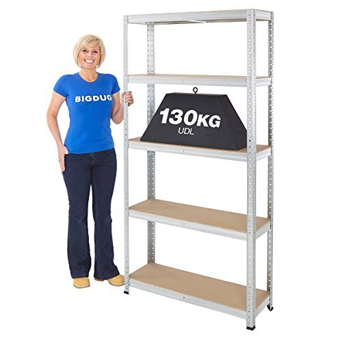 Garage Shelving Boltless Galvanised Storage Shed Home 130kg UDL 5 Shelves Steel Racking 1780x900x300 1x Shelving Bay BiGDUG