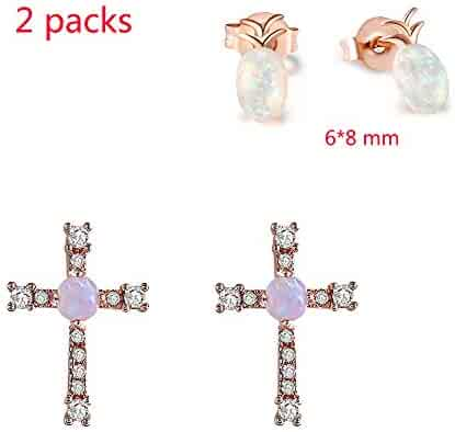 797b1b3bc Tiny Simulated Opal Stud Earring - Hypoallergenic Imitation Round Piercing  Opal Pineapple/Cross Earrings Stud