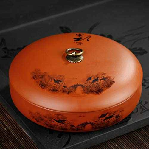 Purple Clay Tea Caddy Ceramic Puer Tea Cans Tea Cake Storage Jar Sealed Box Teaware Kitchen Accessories Gift by BERTERI (Image #1)