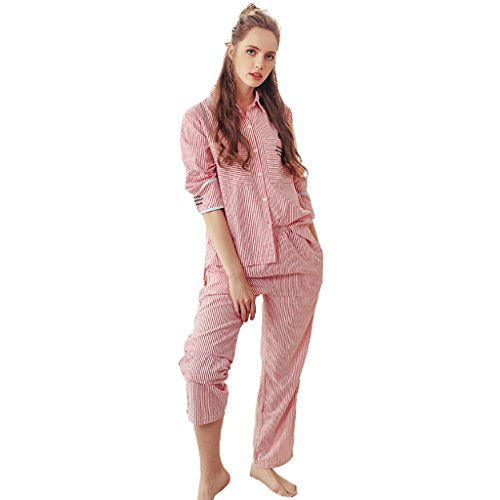 aae8ee7177 Women Fashion Elegant Striped Cotton Pajamas Long Sleeves Cute Girls Home  Clothing Set ( Color   Pink