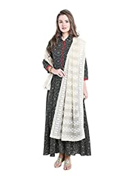 Dupatta Bazaar Women's Ivory Cotton Blend dupatta with Self Embroidery