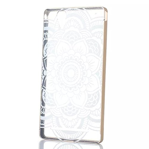 PIZU Aluminum Metal Frame Gold Bumper Case with Acrylic Back Plate Cover Colorful Painted Pattern Case for Sony Xperia T2 XM50H Lotus