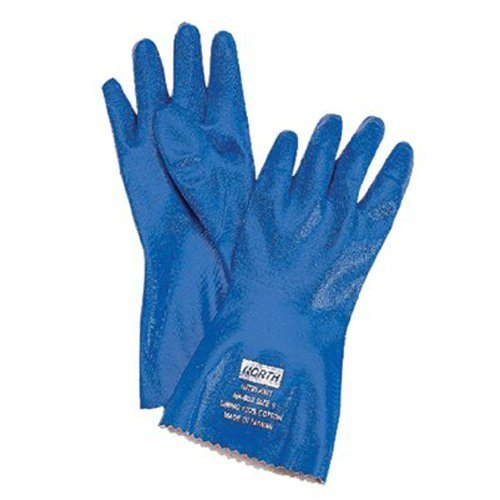 North NK803 Blue 11 Nitrile Supported Chemical-Resistant Gloves - Rough Finish - 12 in Length - NK803/11 [PRICE is per DOZEN]