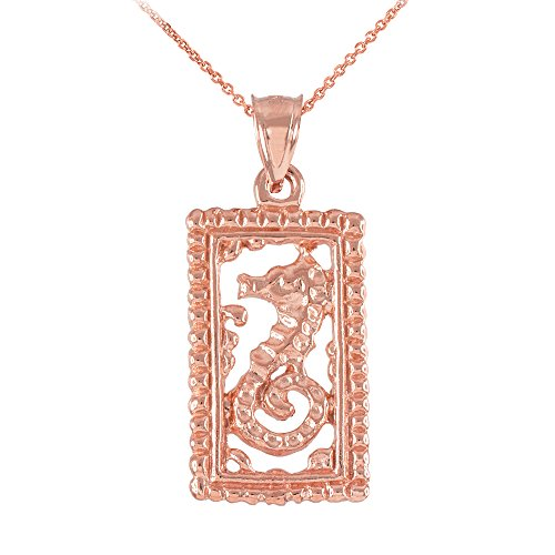 Collier Femme Pendentif 10 Ct Or Rose Rectangulaire Perlé Cadre Hippocampe (Livré avec une 45cm Chaîne)