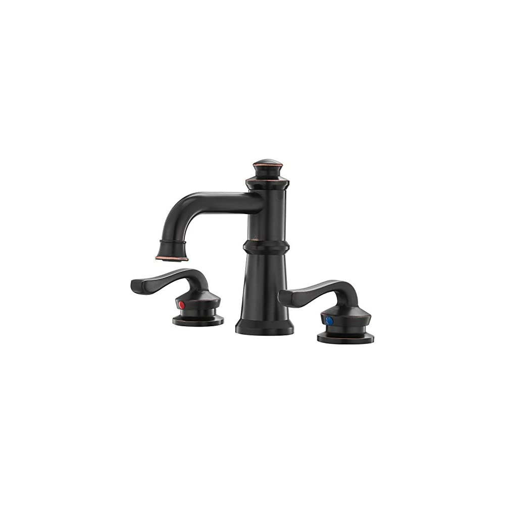 BWE Two Handle Widespread Bathroom Faucet Waterfall Farmhouse Old Time ORB 8 Inch 3 Holes Lavatory Sink Oil Rubbed…