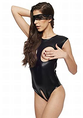 Naray Women's Sexy PU Leather Bodysuit Lingerie Open Cup Crotchless Teddy