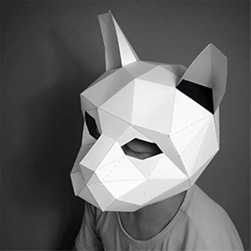 Nesee Handmade DIY Free Cut 3D Stereo Animal Mask Prom Party Headgear Paper Model (E)]()
