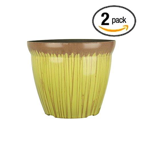 Fantastic:)™ 2-Packs 11.75-INCH Round Drum Shinny Finish Decorative Plastic Planters Flower Pot (Two Pack-Save More, DoubleGlaze-Mustard)