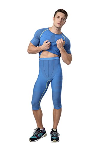 Prettywell Mens Sports Compression Quick Dry Calf Length Tight Pants MA-08 (XL, Blue)
