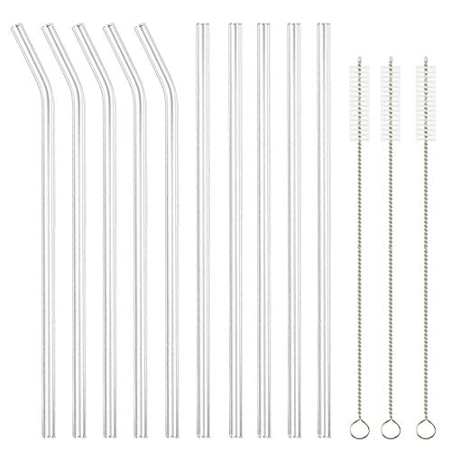 Glass Straws Clear 9 x 10 mm Drinking Straws Reusable Straws Healthy, Set of 10 with 3 Cleaning for Smoothie, Milkshakes, Bubble Tea,Reusable, Eco Friendly, BPA Free, Shatter Resistant